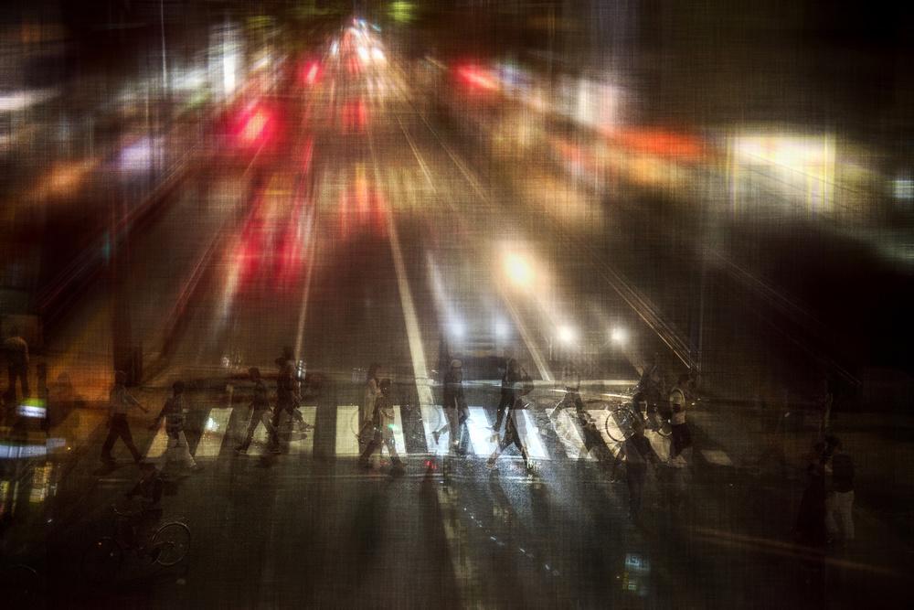 A piece of fine art art photography titled Night Street by Ekkachai Khemkum