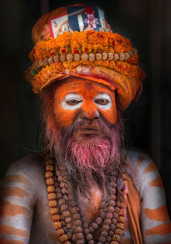 A piece of fine art art photography titled Orange Sadhu by Norbert Becke