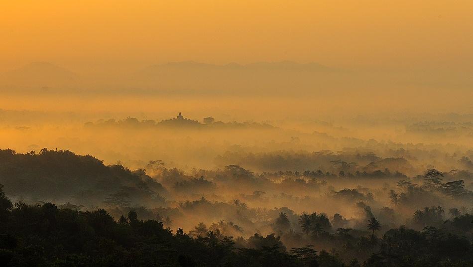 A piece of fine art art photography titled Borobudur Temple at Sunrise by saeful hasyim