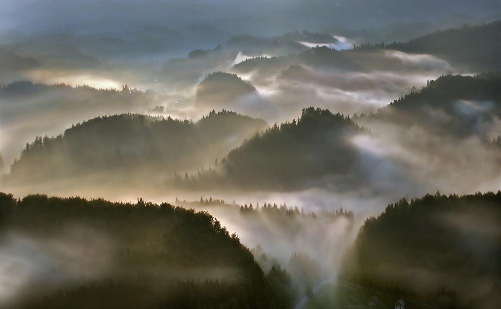 A piece of fine art art photography titled Lightfalls by Matjaz Cater