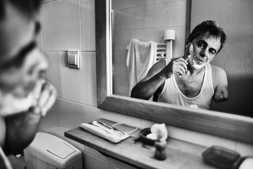 A piece of fine art art photography titled Shaving by Dejan Miloradov