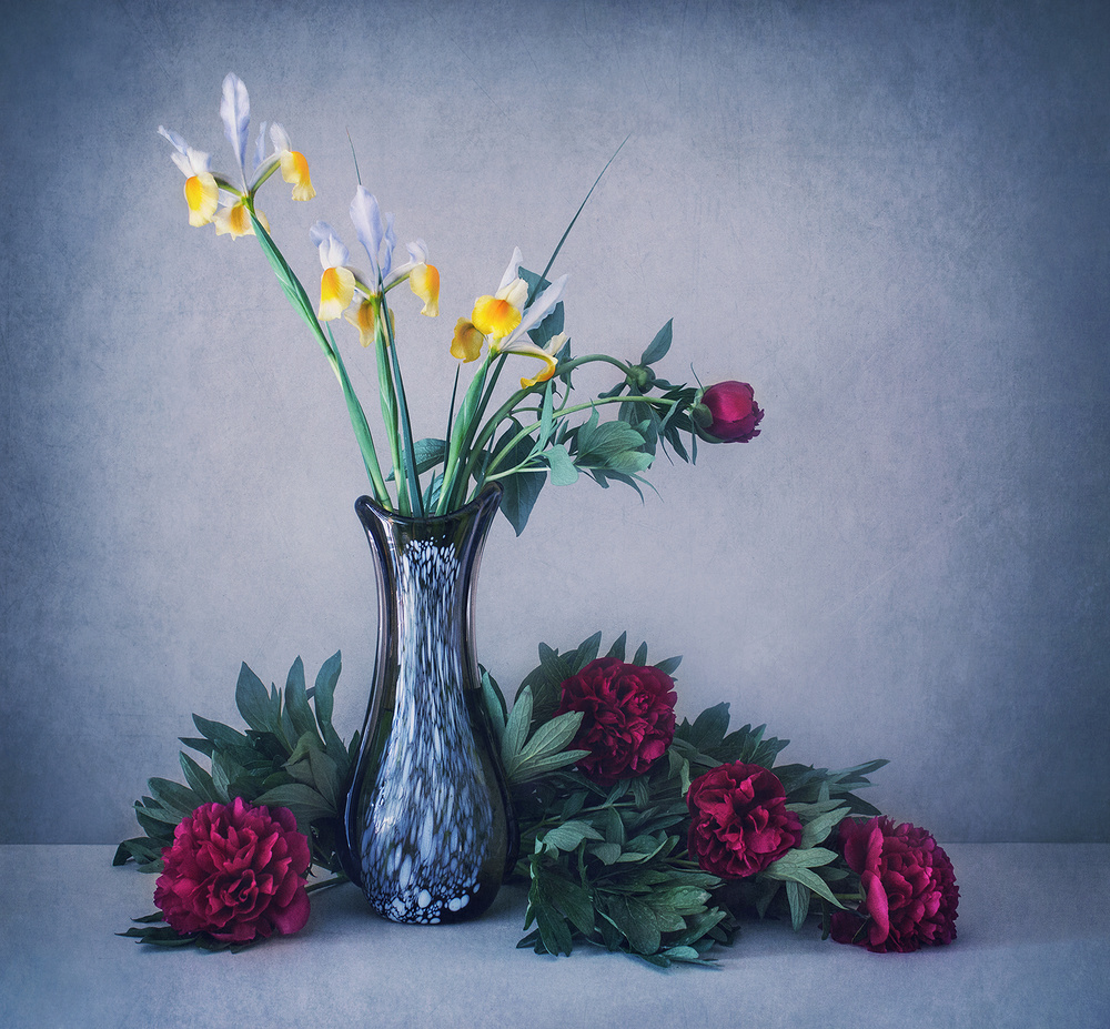 Still life with irises and peonies