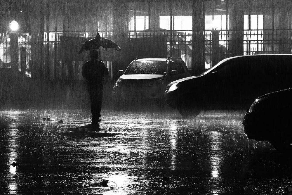 A piece of fine art art photography titled Rain at Night by Ayatullah R. Hiba