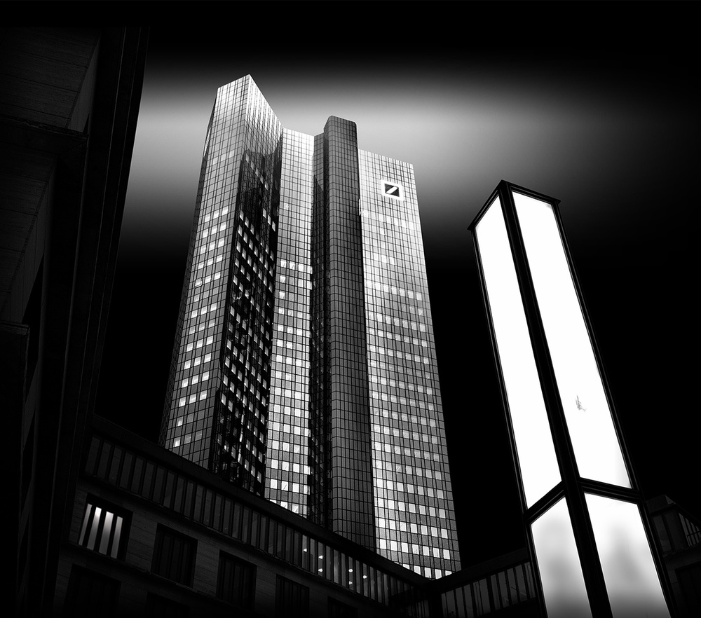 A piece of fine art art photography titled Deutsche Bank With a Light Column by Wolfgang Mothes