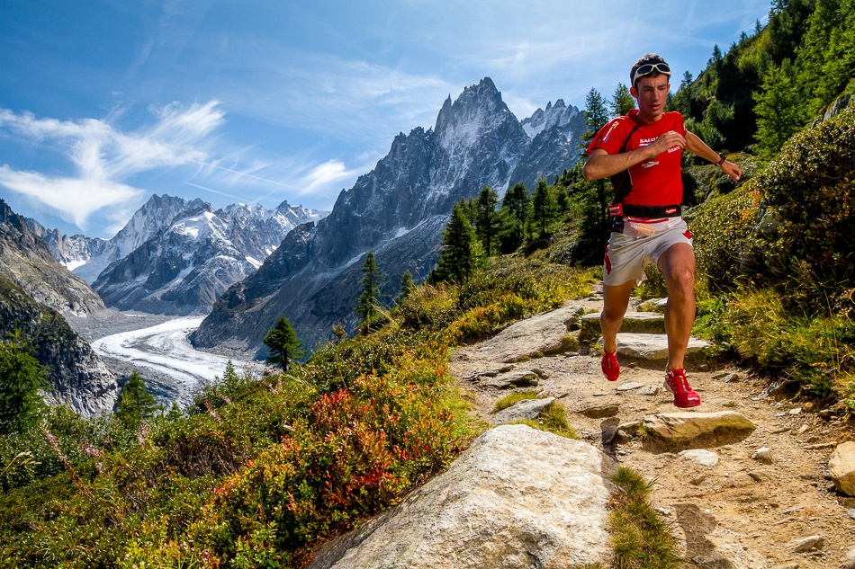 A piece of fine art art photography titled Kilian Jornet Training Above Montenvers by Tristan Shu