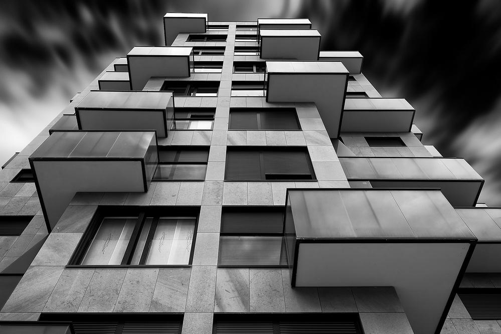 A piece of fine art art photography titled Facade With Balconies by Peru Serra