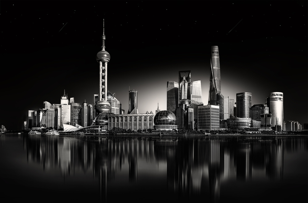 Shanghai_Skyline_reflections_bw
