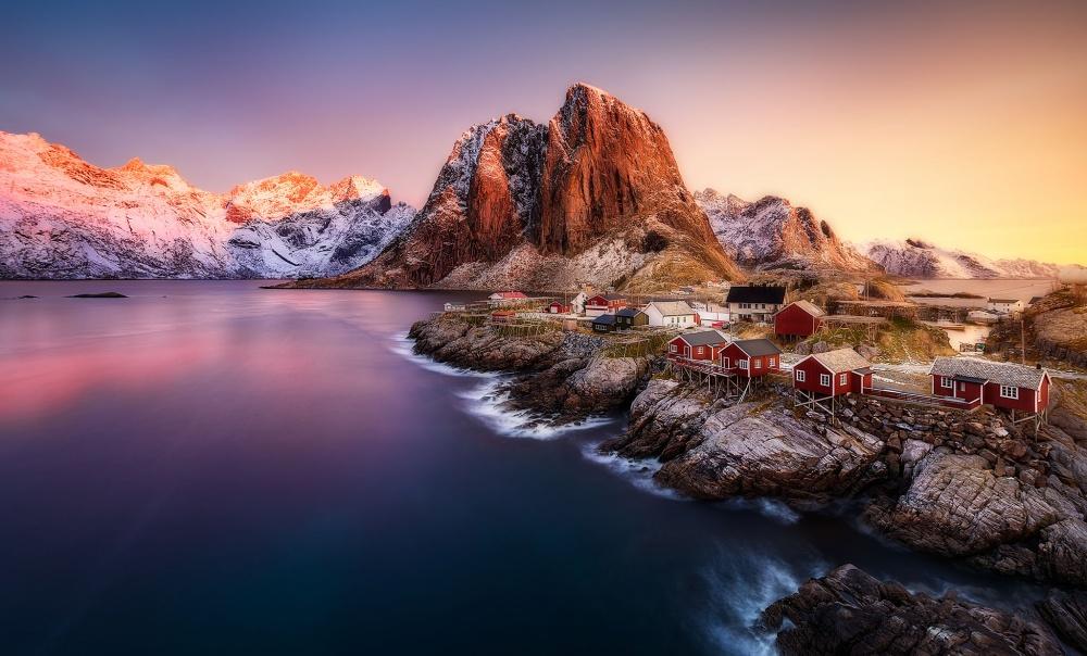 A piece of fine art art photography titled Hamnoy Sunrise by Javier de la Torre