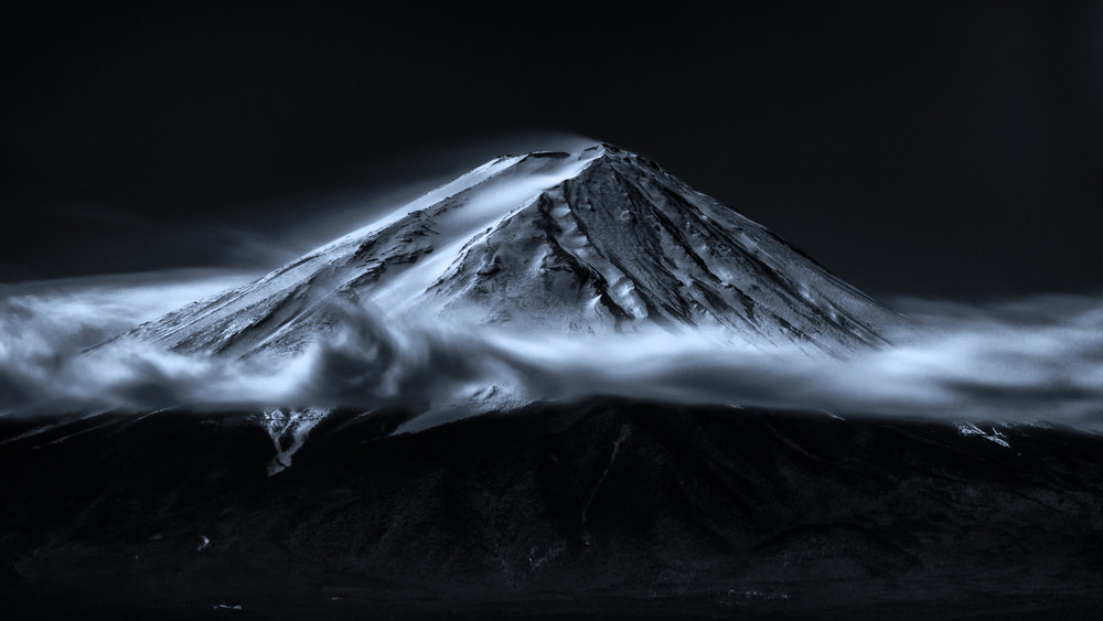 A piece of fine art art photography titled Brim of Cloud Hat (Blue Ink Version) by Takashi