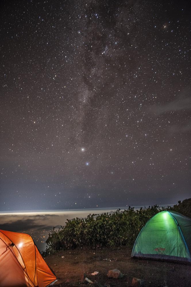 My Milky way at the top of mount Merbabu Boyolali Indonesia