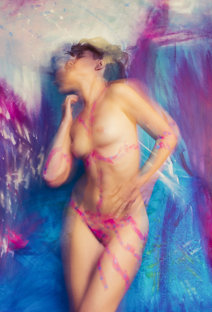 A piece of fine art art photography titled 'My World Pink & Blue' by Edith Hoffman