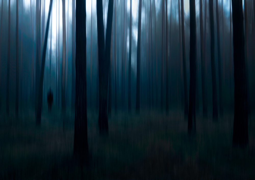 A piece of fine art art photography titled Man In the Forest by Christian Lindsten