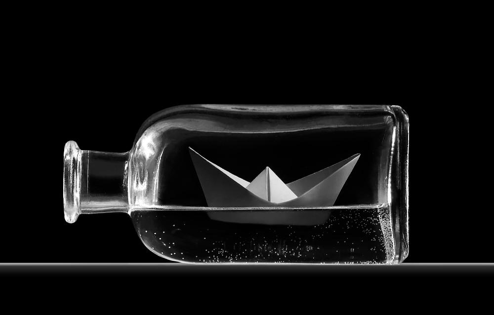 A piece of fine art art photography titled Bottle Sea by Juan de Villalba