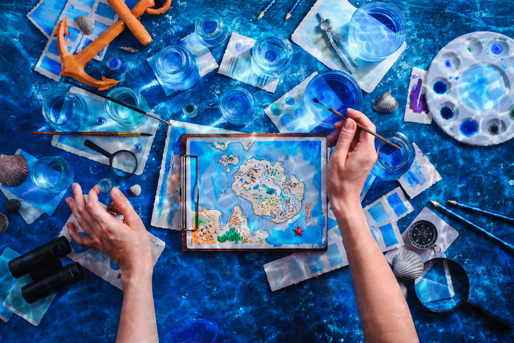 A piece of fine art art photography titled Cartography for Beginners (Choose the Correct Blue) by Dina Belenko