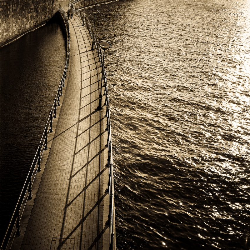 A piece of fine art art photography titled Walkway On the River Maas by Egill Ibsen