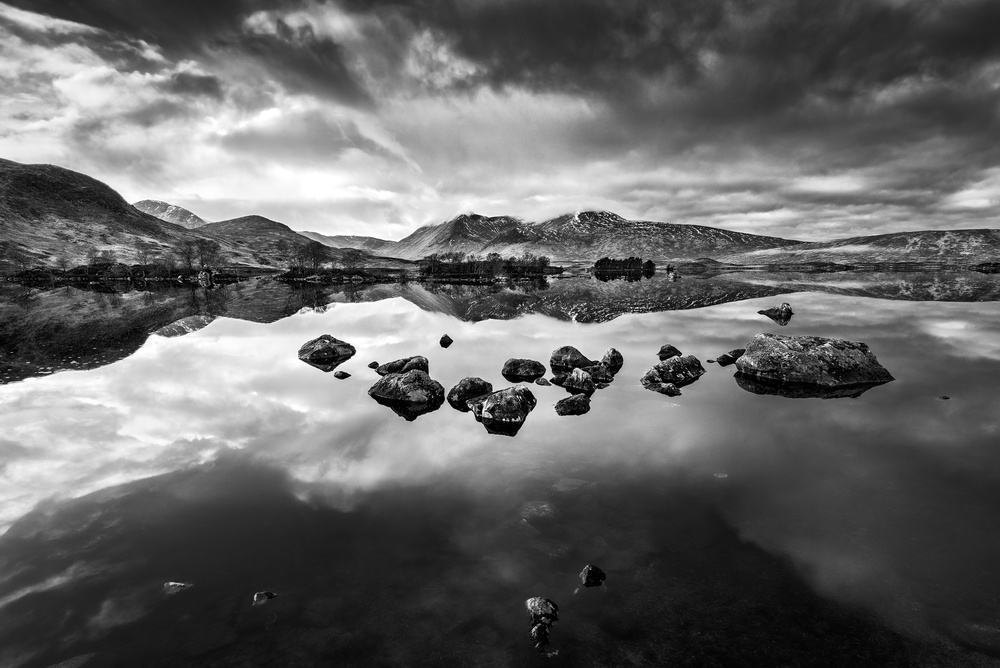 A piece of fine art art photography titled Lochan Na H-Achlaise In Black In White #1 by Matt Anderson