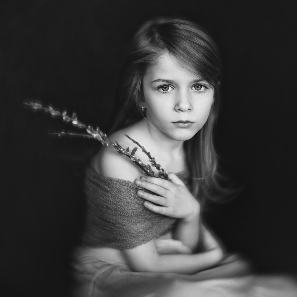 A piece of fine art art photography titled A Portrait With Spring Willow by Greta Do