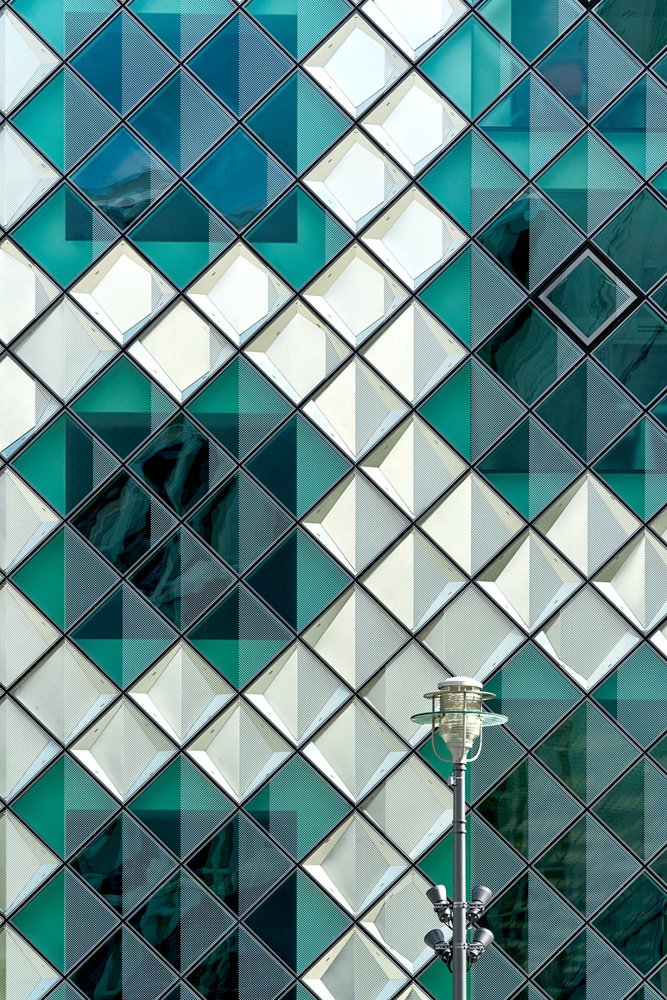 A piece of fine art art photography titled Lamp and Squares by Kurt Weinmeister