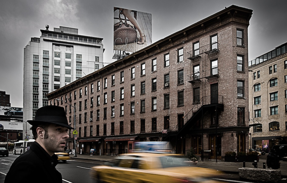 A piece of fine art art photography titled Man, Cab and Cloudy Day by Farrell Kramer