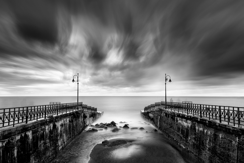 A piece of fine art art photography titled Double Pier by George Digalakis