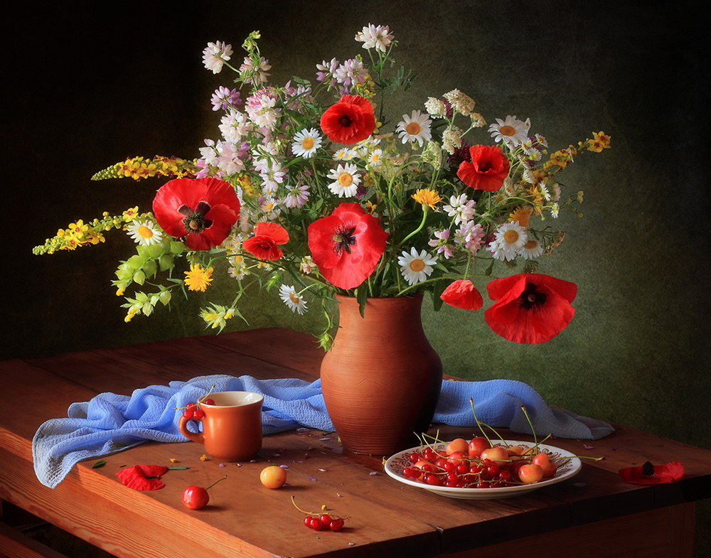 A piece of fine art art photography titled Still Life With a Bouquet of Meadow Flowers by Tatyana Skorokhod (Татьяна Скороход)