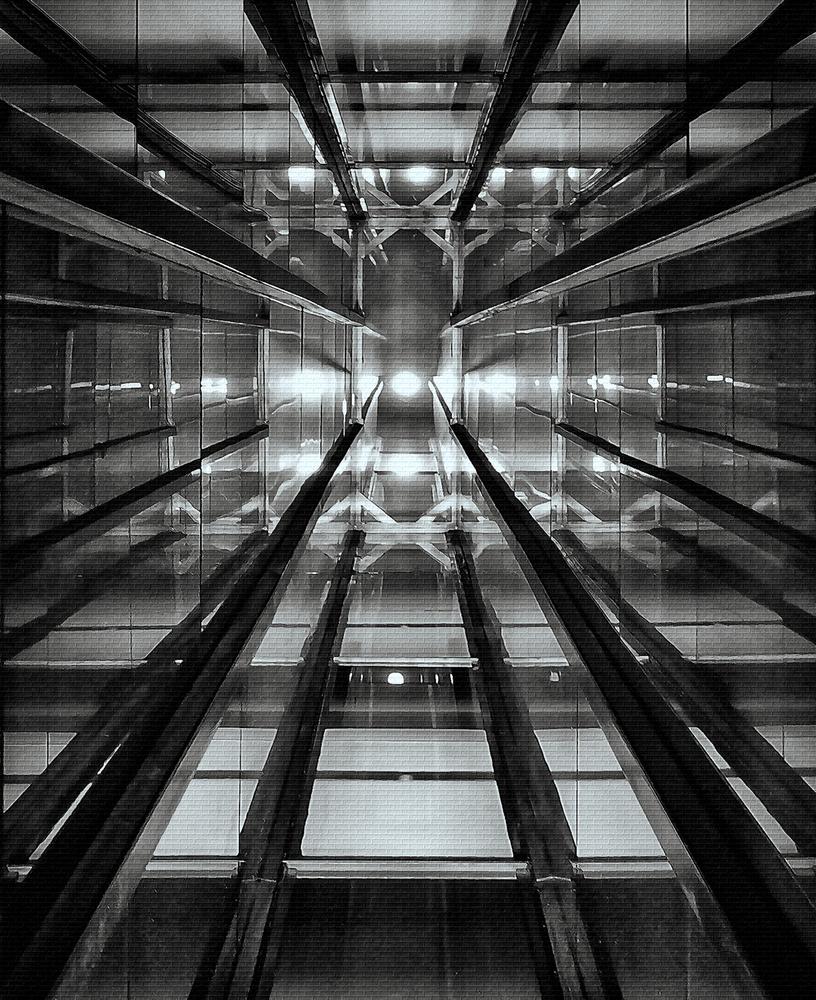 A piece of fine art art photography titled Elevator Shaft Casa Confetti by Henk van Maastricht