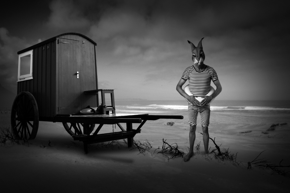 A piece of fine art art photography titled Mad Bunny Is a Lifeguard by Christine von Diepenbroek