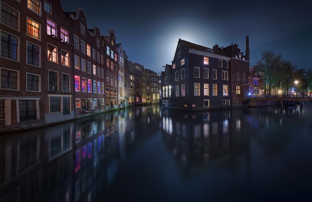 A piece of fine art art photography titled Moonlight Over Amsterdam by Jesús M. García