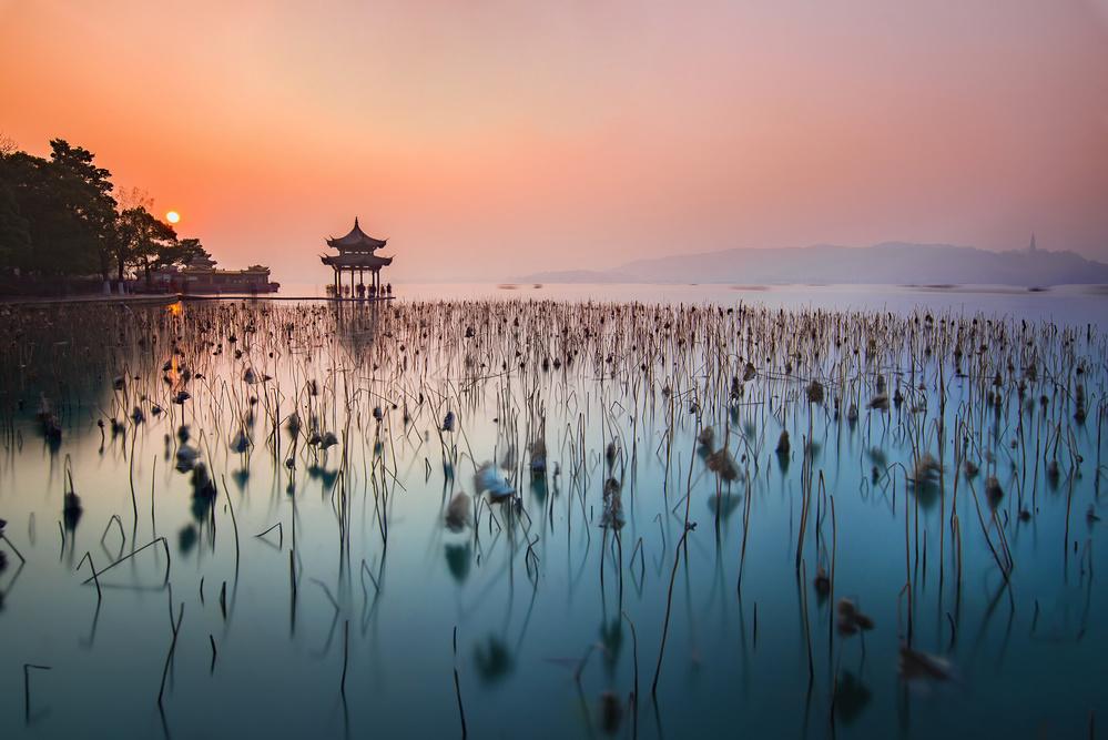 A piece of fine art art photography titled Jixian Pagoda In West Lake by Derek Zhang