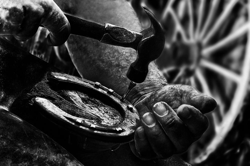 A piece of fine art art photography titled Le Maréchal Férrant (the Blacksmith) by Manu Allicot
