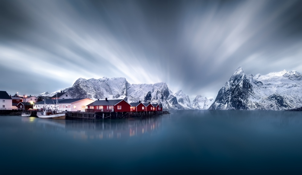 A piece of fine art art photography titled Hamnoy Red Cabins by Jesús M. García