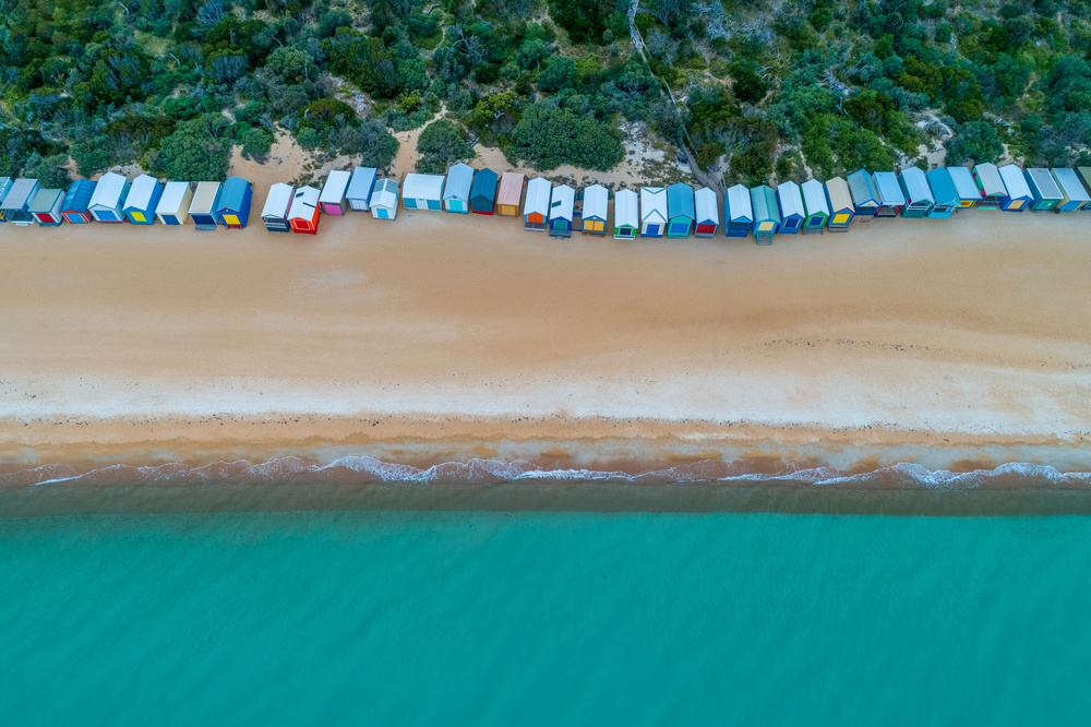 A piece of fine art art photography titled Beach Huts On Mornington Peninsula by Greg Brave