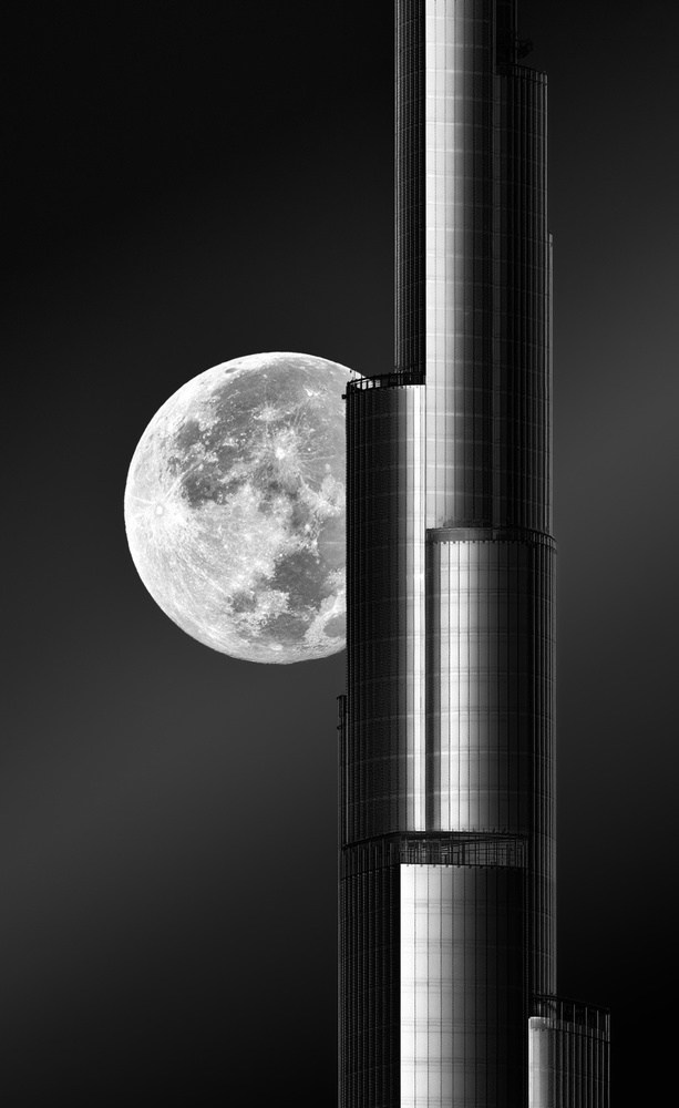 A piece of fine art art photography titled Super Moon Burjkhalifa by zohaib anjum