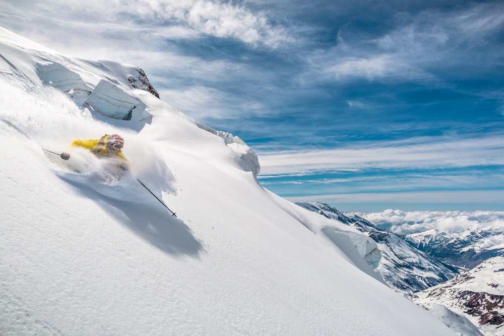 A piece of fine art art photography titled Powder On the North Face With Adrien Coirier by Tristan Shu