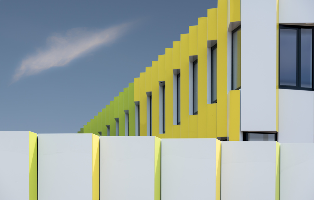 A piece of fine art art photography titled Zigzag Facade by Greetje van Son