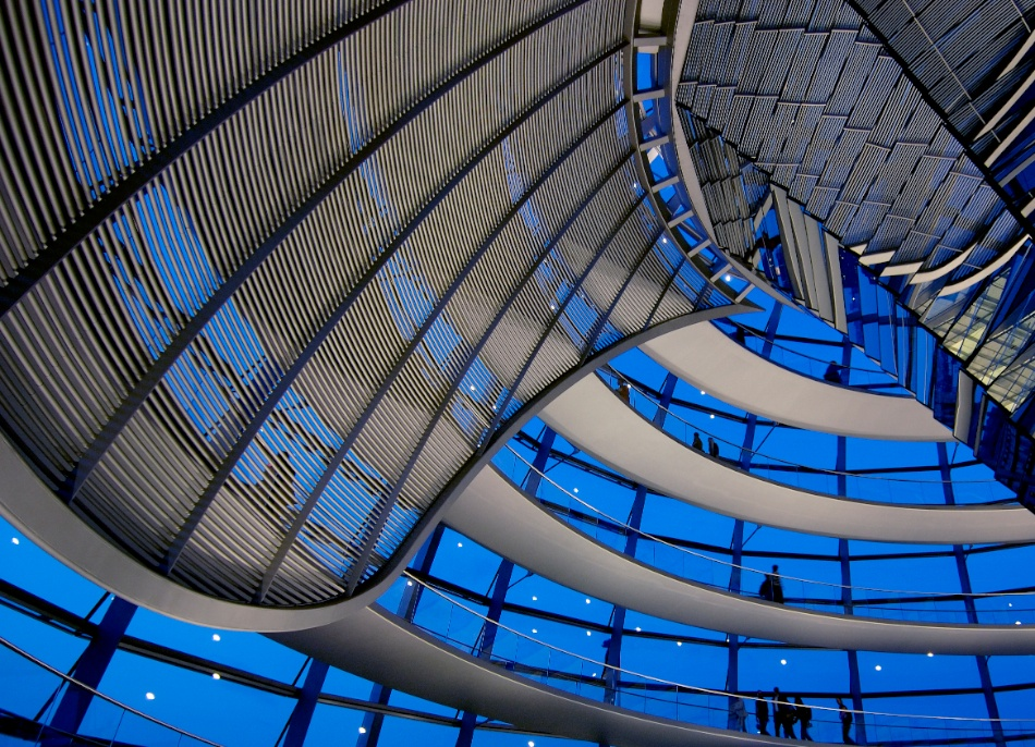 A piece of fine art art photography titled Reichstag Dome Night by Dave Land