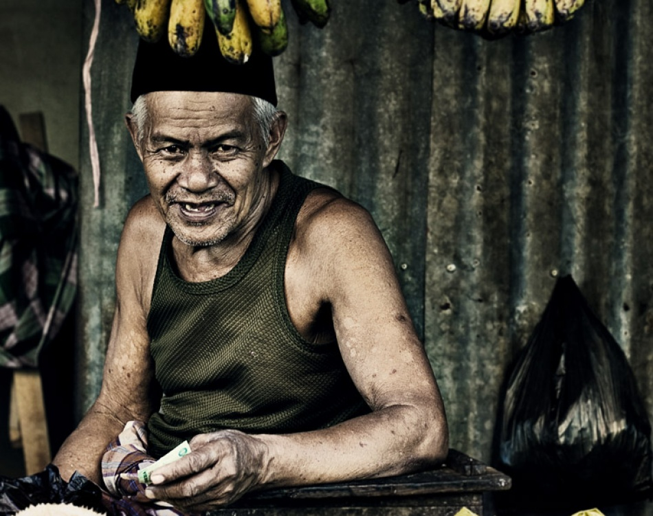 A piece of fine art art photography titled Grandfather's Smile by Thaib Chaidar
