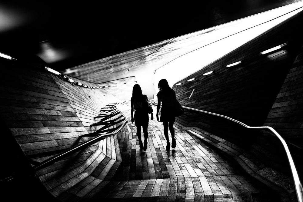 A piece of fine art art photography titled Walking Towards the Light by Tetsuya Hashimoto