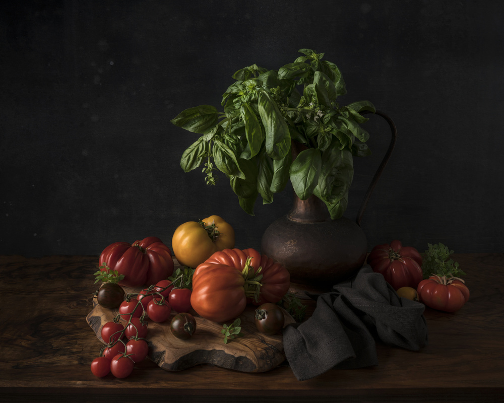 View this piece of fine art photography titled Still life with tomatoes and basil by Gaille Gray