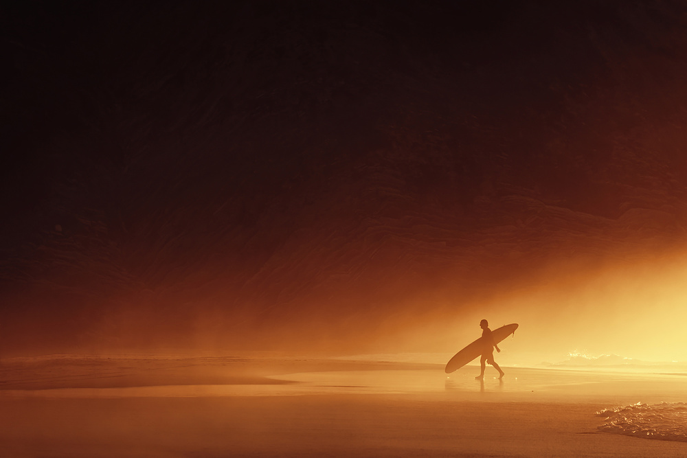 A piece of fine art art photography titled The Surfer by Mikel Martinez de Osaba