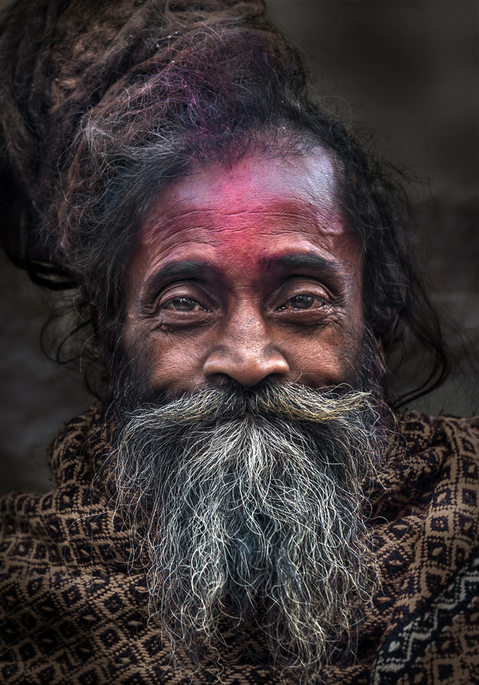 A piece of fine art art photography titled Sadhu With Red Forehead by Norbert Becke