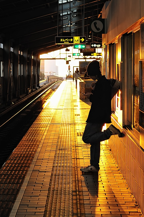 A piece of fine art art photography titled Wait for a Train by Takashi