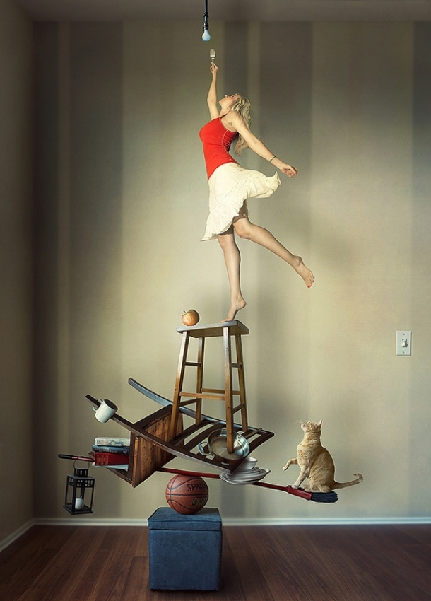 A piece of fine art art photography titled How Many Everyday Objects Does It Take to Change a Lightbulb? by Samantha Tran