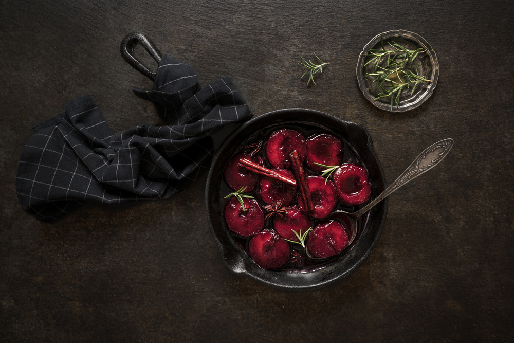 A piece of fine art art photography titled Poached Plums by Diana Popescu