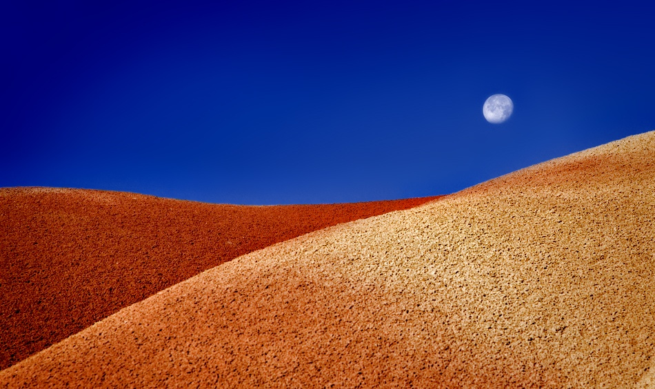 A piece of fine art art photography titled Painted Hills Moonset by Jason Friesen