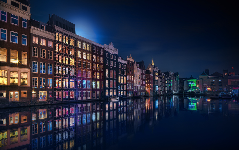 A piece of fine art art photography titled Amsterdam Windows Colors by Jesús M. García