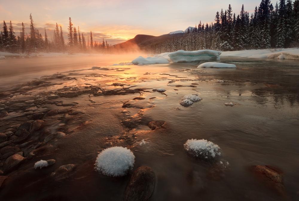 A piece of fine art art photography titled Misty Winter Morning by Hong Zeng