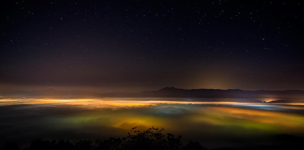 A piece of fine art art photography titled Misty Night by Rafa Herrero