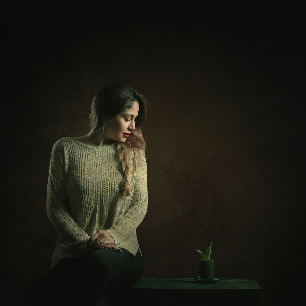The girl  & plant