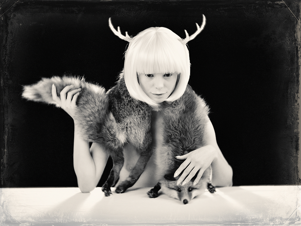 A piece of fine art art photography titled Me and the Fox by alexandra fira